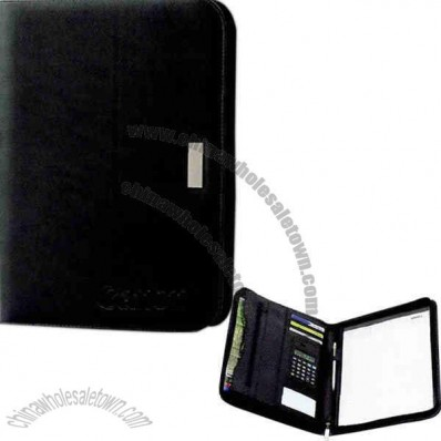 New Yorker - Zippered Portfolio In Simulated Leather With Notepad