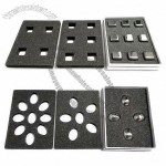 New ice cube trays in various shapes, made of stainless steel