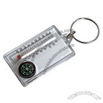 Nice shape multifunction thermometer compass plastic nice color fashionable keychain