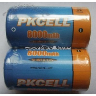 Nimh D Size Rechargeable Battery 8000mAh