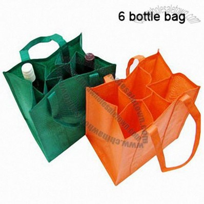 Non-Woven Eco-Friendly Reusable Six Wine Bottle Shopping Tote Bags