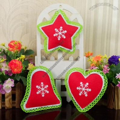 Non-woven bells, star, heart Christmas Ornaments