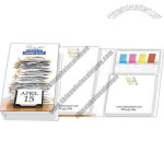 Note Pad booklet includes two 50 sheet adhesive note pads and 50 cellulose flags
