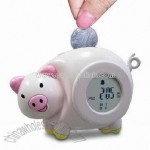 Novelty Pig Shaped Digital Clock with Coin Bank and Radio