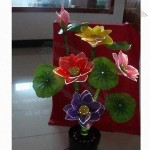 Novelty Potted Artificial Lotus Matched with Leaves and Stems Shining in Electricity