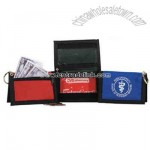 Nylon ID wallet with key ring and zipper pocket