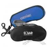 Nylon eyeglass case with deluxe soft padded lining and spring-loaded hook.