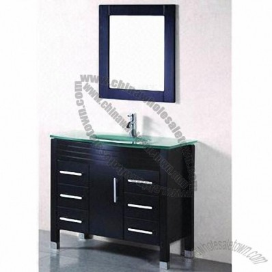Oak Solid Wooden Bathroom Cabinet With Glass Countertop And Basin