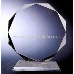 Octagon Circle crystal award with base