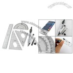 Office Compass Set Square Protractor 15cm Plastic Ruler Clear