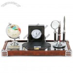 Office Desktop Set With Globe, Clok, Magnifier, Letter Opener, Metal Pen, Memo Holder