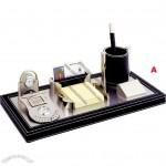 Office Desktop Set with Clock, Pen/Note Pad/Name Card Holder, Perpetual Calendar