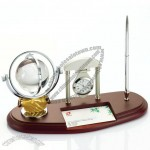 Office Desktop Set with Crystal Ball, Clock, Business Card Holder, Pen Stand