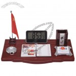 Office Desktop Set with Flag Stand, Digital Clock, Pen Holder, Desk Calendar, Memo, Clip Tray