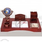 Office Desktop Set with Globe, Pen Holder, Name Card Holder, Clip Dispenser, Desk Calendar, Notes