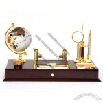 Office Desktop Set with Magnifier, Letter Opener, Ball Pen, Globe, Notes Holder, Name Card Holder
