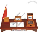 Office Desktop Set with Pen Holder, Flag Stand, Desk Calendar, Business Card Holder, Memo Box