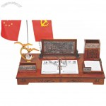 Office Desktop Set with Relief Decoration and Pen Holder, Flag Stand, Calendar, Memo
