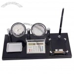 Office Desktop Set with Rotate Clock, Crystal Ball, Pen Stand, Memo Holder, Clip Tray, Calculator