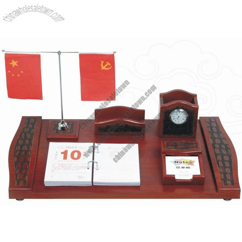 office desktop set with two flag stand clock pen holder name card
