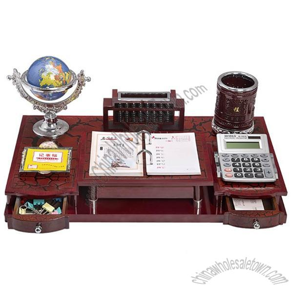 Beautiful Office Gift Set With Small Drawers, Globe, Desk Calendar, Memo, Pen Holder