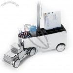 Office Trucker Magnetic Paper Clip Dispenser with Card and Pen Holder