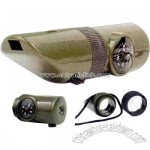 Olive drab 6-in-1 survival whistle kit with LED light