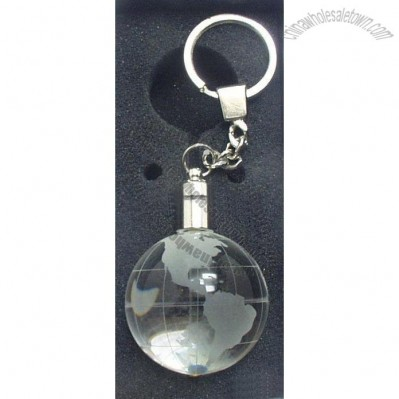 Optical Crystal Globe Keychain