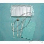 Oral Cavity Kit (Dental Set), Includes Disposable Dental Mirror, Bib, Explorer and Plastic Tray