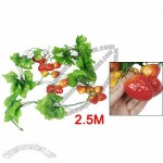 Orange Red Strawberry Green Leaf Wall Decorative Hanging Vine 2.5M