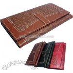 Ostrich faux leather 3 fold design clutch wallet