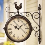 Outdoor Country Charm Iron Scroll Work with Rooster Perched Double Side Wall Clock