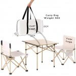 Outdoor Foldable Chair and Table Set with Carry Bag