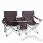Outdoor Folding Chairs with Magazine Holder