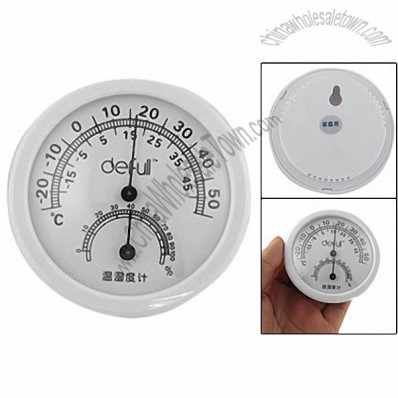 Outdoors Cordless Round Wall Mount Thermometer w Hygrometer