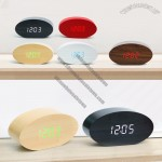 Oval Voice Control Wooden LED Digital Alarm Clock with Calendar Thermometer