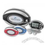 Oval clip-on pedometer / clock