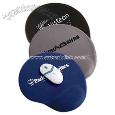 Oval mouse pad with gel wrist rest and non skid base