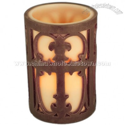 Overlay Candle With Large Cross Carving