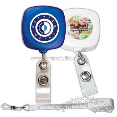 Overseas retractable badge reel with tape measure cord and metal clip back