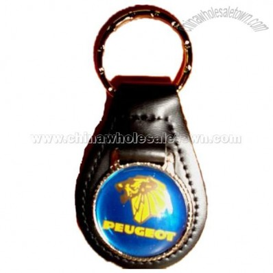 PEUGEOT AUTO LEATHER KEYCHAIN KEY CHAIN RING FOB