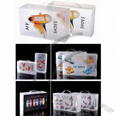 PP Shoe Boxes with Thickened Portable Transparent Crystal and Printing, Plastic Storage
