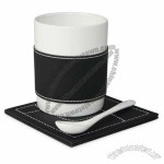 PU Grip Ceramic Mug With Spoon And Coaster
