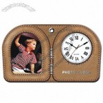 PU Leather Alarm Clock with Photo Frame