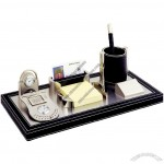 PU Leather Desktop Gift Set with Clock, Perpetual Calendar, Pen Holder, Memo, Name Card Holder