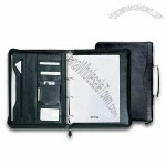 PU Leather Portfolio with Ring Binder Calculator and Card Holder