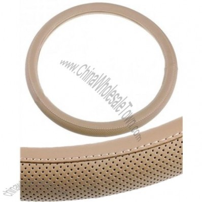PU Leather Steering Wheel Cover With Net Holes Beige