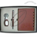 PU Stationery Gift Sets Includes Keychain, Pen and Card Holder
