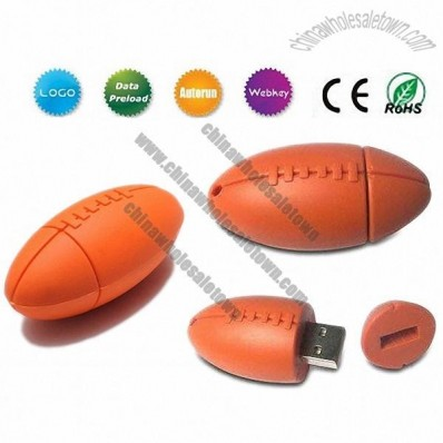 PVC Silicon Rugby Ball Shaped USB Flash Drives