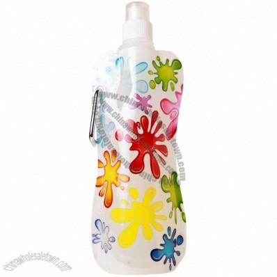 Paint Splash on White Pocket Collapsible Water Bottle